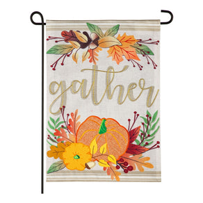 """Autumn Gather"" Printed Seasonal Garden Flag; Polyester Burlap"