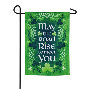 """May the Road Rise to Meet You"" Printed Suede Garden Flag; Polyester"