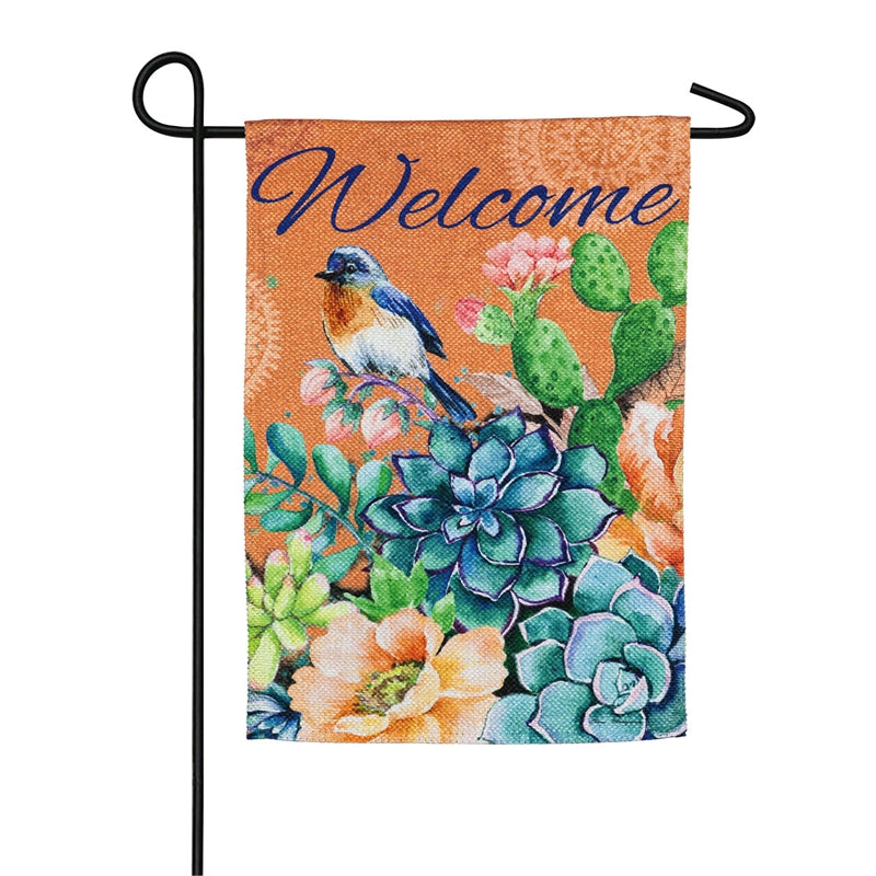 "Load image into Gallery viewer, ""Fresh Succulents"" Printed Suede Garden Flag; Polyester"