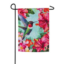 "Load image into Gallery viewer, ""Hummingbird & Hibiscus"" Printed Suede Garden Flag; Polyester"