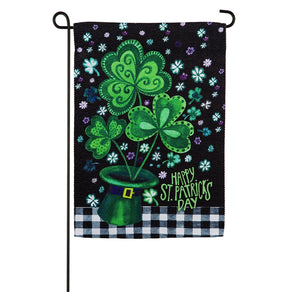 Shamrocks Buffalo Plaid Garden Flag