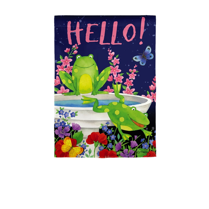 Hello Frog Friends Garden Flag