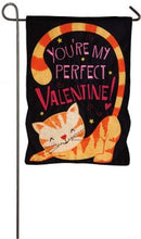 "Load image into Gallery viewer, ""Purrfect Valentine"" Printed Seasonal Garden Flag; Linen Textured Polyester"