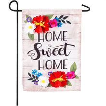 "Load image into Gallery viewer, ""Floral Home Sweet Home"" Seasonal Garden Flag; Linen Textured Polyester"