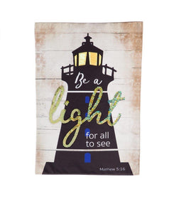 """Be A Light"" Seasonal Garden Flag; Linen Textured Polyester"