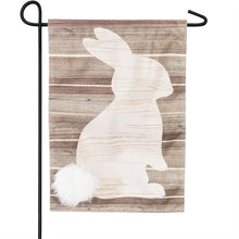 "Load image into Gallery viewer, ""Wood Bunny Silhouette"" Printed Seasonal Garden Flag; Linen Textured Polyester"