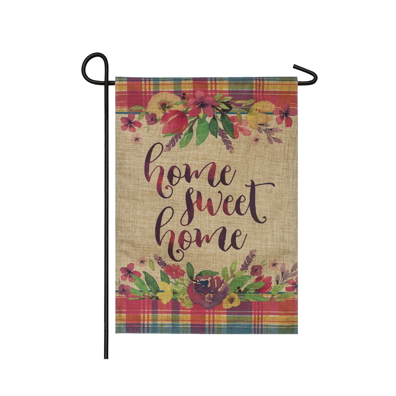 "Load image into Gallery viewer, ""Home Sweet Home Plaid"" Applique Seasonal Garden Flag; Linen Textured Polyester"