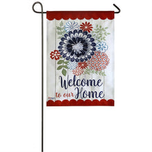 "Load image into Gallery viewer, ""American Floral Welcome"" Seasonal Garden Flag; Linen Textured Polyester"