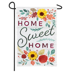 """Home Sweet Home"" Applique Seasonal Garden Flag; Linen Textured Polyester"