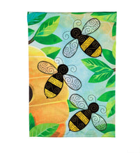 "Load image into Gallery viewer, ""Bees Quilled"" Seasonal Garden Flag; Linen Textured Polyester"