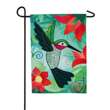 "Load image into Gallery viewer, ""Hummingbird"" Seasonal Garden Flag; Linen Textured Polyester"