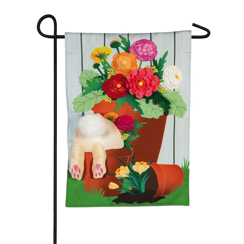 "Load image into Gallery viewer, ""Bunny in the Garden"" Seasonal Garden Flag; Linen Textured Polyester"