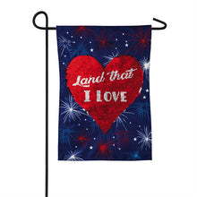 "Load image into Gallery viewer, ""Land That I Love"" Seasonal Garden Flag; Linen Textured Polyester"
