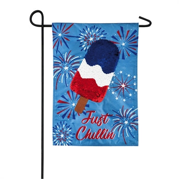 "Load image into Gallery viewer, ""Just Chillin "" Seasonal Garden Flag; Linen Textured Polyester"