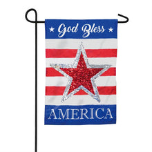 "Load image into Gallery viewer, ""God Bless America Reversible Star"" Seasonal Garden Flag; Linen Textured Polyester"