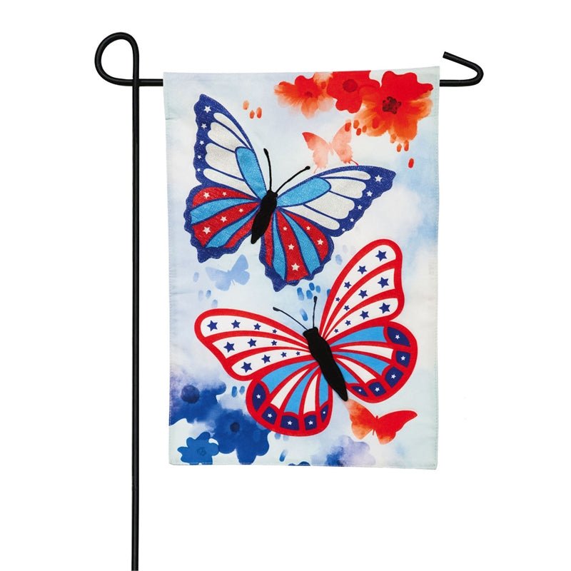 "Load image into Gallery viewer, ""Patriotic Butterlfies"" Seasonal Garden Flag; Linen Textured Polyester"