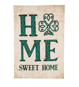 """Celtic Home Sweet Home"" Applique Seasonal Garden Flag; Linen Textured Polyester"