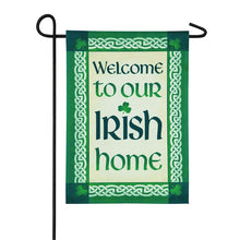 "Load image into Gallery viewer, ""Our Irish Home"" Applique Seasonal Garden Flag; Linen Textured Polyester"