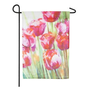 """Pink Tulips"" Printed Seasonal Garden Flag; Organza"
