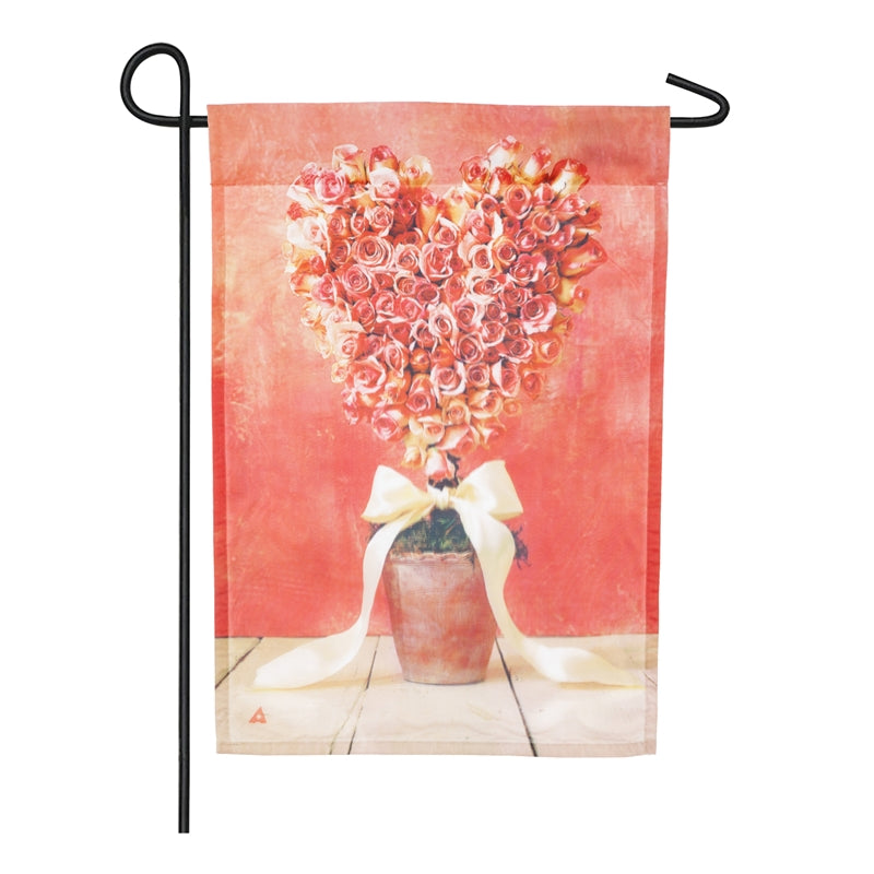 "Load image into Gallery viewer, ""Rose Topiary"" Printed Seasonal Garden Flag; Organza"