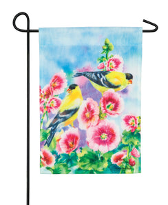 """Hollyhocks and Finches"" Printed Seasonal Garden Flag; Organza"