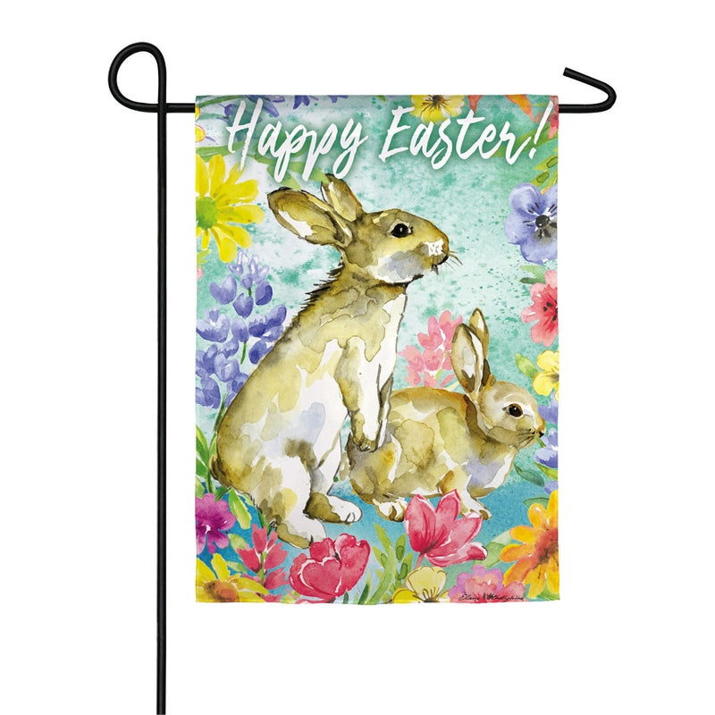 "Load image into Gallery viewer, ""Easter Bunnies"" Printed Seasonal Garden Flag; Organza"