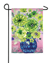 "Load image into Gallery viewer, ""Green Floral Bouquet"" Printed Seasonal Garden Flag; Organza"