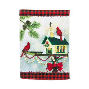 """Christmas in the Garden"" Printed Suede Garden Flag; Polyester"