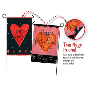 """Be Mine"" Valentines Day 2-Sided Printed Suede Seasonal Garden Flag; Polyester"