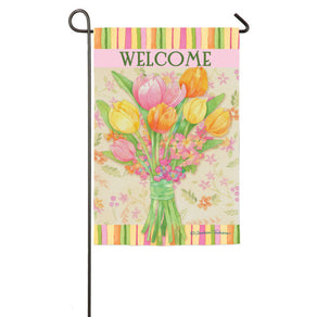 """Perfect Tulip Petals"" Printed Suede Seasonal Garden Flag; Polyester"