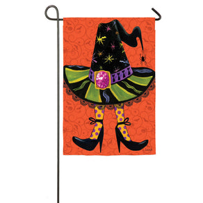 """Witches Hat"" Suede Embellished Printed Seasonal Garden Flag; Polyester"
