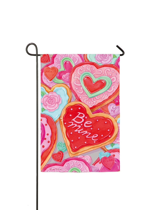 "Load image into Gallery viewer, ""Be Mine Heart"" Printed Suede Seasonal Garden Flag; Polyester"