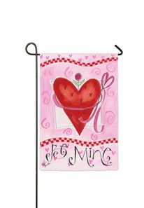 """Be Mine Happy Valentines Day"" Printed Suede Double Sided Seasonal Garden Flag; Polyester"