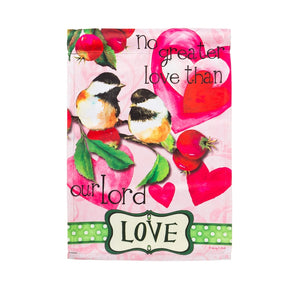 """Love"" Printed Suede Seasonal Garden Flag; Polyester"
