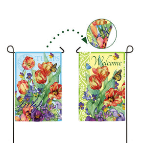 """Spring Flowers"" 2-Sided Printed Suede Seasonal Garden Flag; Polyester"