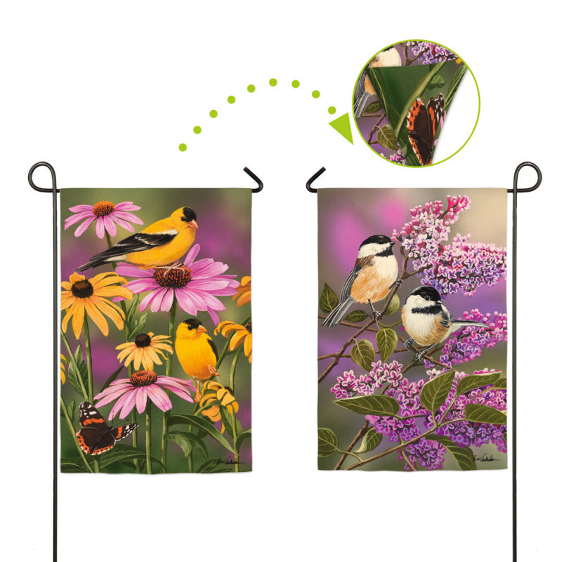 "Load image into Gallery viewer, ""Garden Friends"" Printed Suede Seasonal Garden Flag; Polyester"