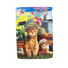 "Load image into Gallery viewer, ""Kitties Tending the Garden"" Printed Suede Seasonal Garden Flag; Polyester"