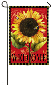 """Welcome Sunflower"" Printed Suede Seasonal Garden Flag; Polyester"