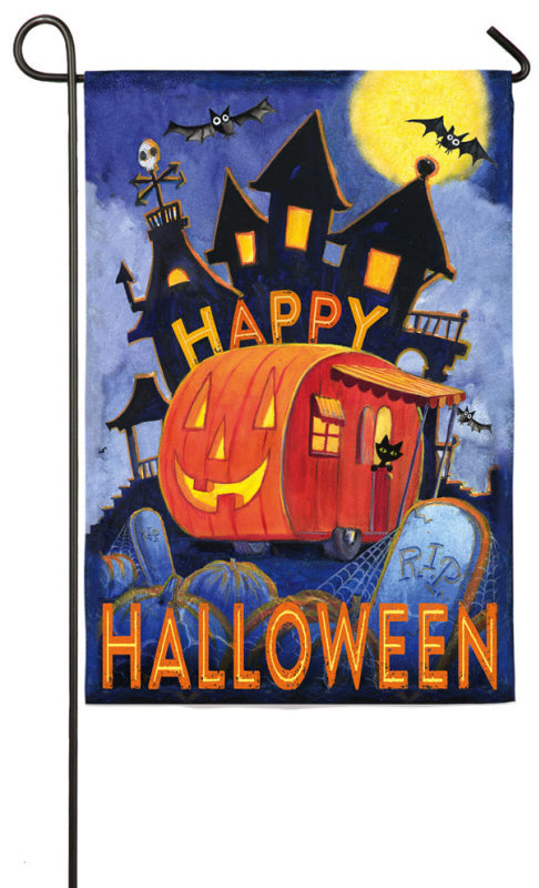 "Load image into Gallery viewer, ""Happy Halloween Pumpkin Trailer"" Printed Suede Seasonal Garden Flag; Polyester"