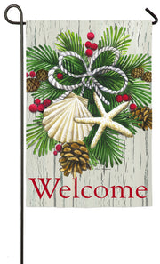 """Coastal Christmas Welcome"" Printed Suede Seasonal Garden Flag; Polyester"