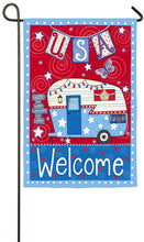 "Load image into Gallery viewer, ""Patriotic Trailer"" Printed Suede Seasonal Garden Flag; Polyester"