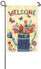 """Welcome Watering Can"" Suede Printed Seasonal Garden Flag; Polyester"