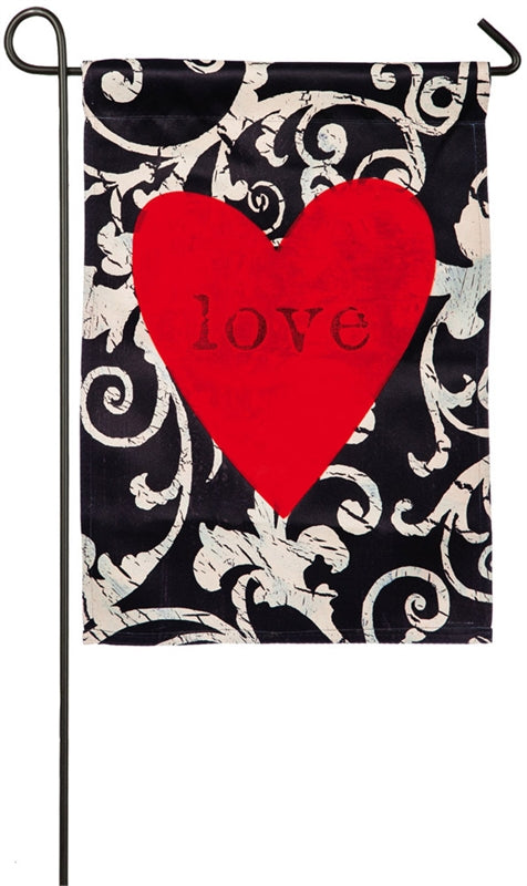 "Load image into Gallery viewer, ""Love in the Heart"" Printed Suede Seasonal Garden Flag; Polyester"