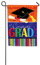 "Load image into Gallery viewer, ""Confetti Graduation"" Printed Suede Seasonal Garden Flag; Polyester"
