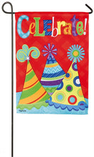 "Load image into Gallery viewer, ""Lets Celebrate"" Printed Suede Seasonal Garden Flag; Polyester"