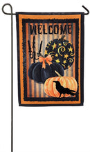 "Load image into Gallery viewer, ""Welcome Halloween Pumpkins"" Suede Embellished Printed Seasonal Garden Flag; Polyester"