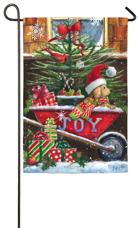 "Load image into Gallery viewer, ""Christmas Wheelbarrow Pup"" Suede Printed Seasonal Garden Flag; Polyester"