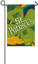 "Load image into Gallery viewer, ""St.Patricks Day Gold Coins"" Printed Suede Seasonal Garden Flag; Polyester"