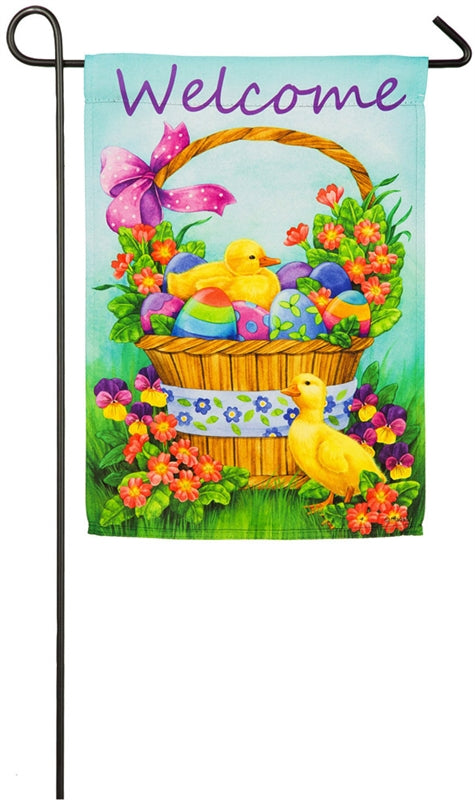 "Load image into Gallery viewer, ""Easter Duckling Basket"" Printed Suede Seasonal Garden Flag; Polyester"