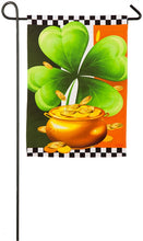 "Load image into Gallery viewer, ""Irish Shamrock"" Printed Suede Seasonal Garden Flag; Polyester"